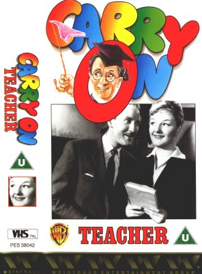 It's all educative                   fun on the video sleeve of Carry On Teacher.